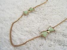 Goldtone Green Cabochon Bow Chain Necklace (D15)