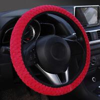 1x hiver rouge doux chaud en peluche velours voiture volant couverture auto 9H