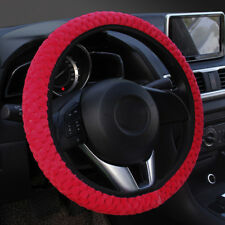1PC Winter red soft warm plush velvet car steering wheel cover auto car decor
