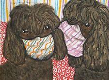 Irish Water Spaniel Masks Original Painting 9 x 12 Dog Pop Art by Artist Ksams