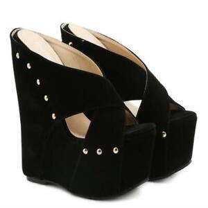 Womens Trendy Summer Peep Toe Rivet Sandals Wedge High Heels Platform Slippers