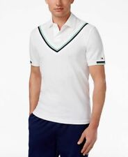 Tommy Hilfiger Mens Kieran Cricket Stripe Custom Fit Pique Polo White Small