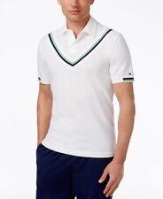 Tommy Hilfiger Mens Kieran Cricket Stripe Custom Fit Pique Polo White Medium
