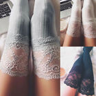 US Stock Women Lace Over Knee Thigh High Cotton Vertical stripes Socks stockings