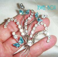 EARLIER VINTAGE Aquamarine Crystal Diamond Rhinestone Wired Flower Brooch