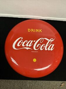"Vintage Drink Coca Cola Porcelain Button Sign 12"" in Mint Condition"