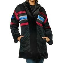 Sherry Cassin Illusion Faux Fur Reversible Coat $249.00 XS BLACK New