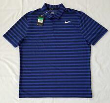Mens Size Medium Black/Blue Nike Golf Standard Fit Striped S/Sleeves Polo Shirt