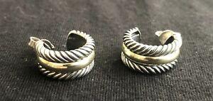 David Yurman Cable Hoop Earrings Sterling SIlver 14K Yellow Gold