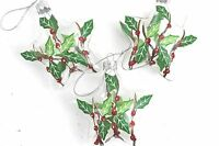 GISELA GRAHAM CHRISTMAS CLEAR GLASS BAUBLE WITH PAINTED HOLLY STAR DECORATION 3