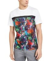 INC Men T-Shirt White Medium M Graphic Tee Studded Graffiti Printed $29- 366