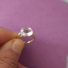 Beautiful 9CT YELLOW GOLD NATURAL WHITE TOPAZ & DIAMOND RING  SIZE N12 IN BOX