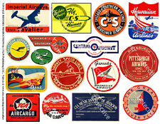 Scrapbook Airplane & Airline Luggage Label Stickers, Label Reproduction, 1 Sheet