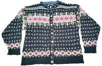L.L Bean Womens Navy Blue Cardigan Jacket Size USA L Wool Nordic Fair Isle Knit