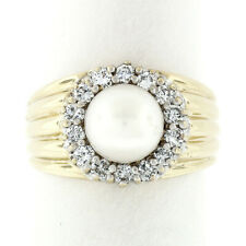 Vintage 14k Yellow Gold 7.6mm Round Pearl & Diamond Halo Ribbed Wide Band Ring