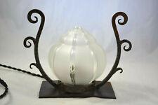 ANCIENNE LAMPE EN FER FORGE ART DECO 1930 DGL DAUM GALLE E BRANDT