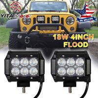 2PCS 4INCH 18W LED FLOOD BEAM WORK LIGHT BAR DRIVING SUV ATV UTE For JEEP TRUCK