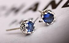 14K White Gold 2ct TGW Blue Topaz Stud Earrings