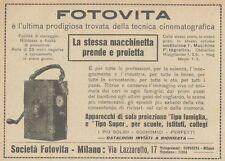 Z1698 FOTOVITA - Proiettore - Cinepresa - Pubblicità d'epoca - 1922 Old advert