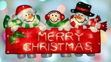 Christmas 10 LED Window Snowman Family Sign Light Up Decoration Xmas Home Party