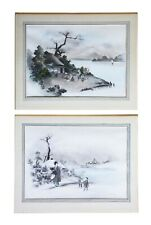 More details for quality large pair of antique japanese ink and watercolour paintings c1910