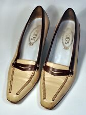 TOD'S Italy Beige & Brown Two Tone Low Kitten Heel Pumps Size 9 Made in Italy