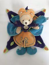 Doudou Plat Ours Prince Indidous Doudou et Compagnie Bleu Orange Vert