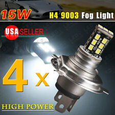 4X White H4 HB2 9003 15W LED Fog DRL Conversion High Low Beam Headlight Lamps US