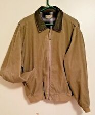 TERRITORY AHEAD TAN CORDUROY FLANNEL LINED LEATHER COLLAR BOMBER JACKET SIZE L