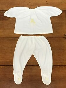 Vintage Baby Footed Pajamas White Long Sleeve 2 Pc NEWBORN 0 - 3 Month 1950s