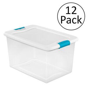 Sterilite 64 Quart Latching Plastic Storage Box, Clear w/ Blue Latches (12 Pack)