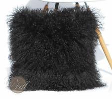 Kissen Hülle schwarz Tibet Lammfell Mongolisches Schaffell Tibetlammfell 70x70cm