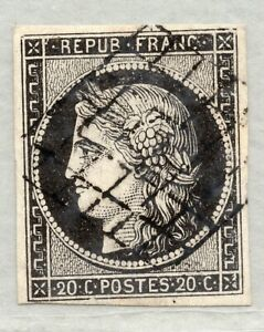 FRANCE 1849  CERES 20c IMPERF USED 3/4 MARGINS
