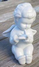 Vintage Ceramic Cherub Angel With Bird