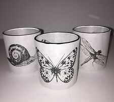 NWT Yankee Candle GLASS GARDEN PAPER Votive Holder SET OF 3