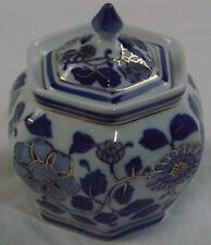 Blue & White Gilded Floral Japanese? Ginger Jar Porcelain Lidded Trinket Dish