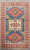 Geometric Super Kazak Oriental Area Rug Hand-Knotted Vegetable Dye Wool 3x4 ft