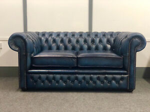 Chesterfield 2 Seater Sofa In Antique Blue Leather (Brand New)