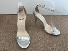Ladies Glamorous Silver High Heeled Shoes Open Toe Evening Party Size 5 SB11