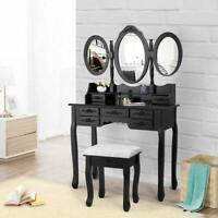 Black Vanity Makeup Dressing Table Desk Set 7 Drawers With Oval Mirror and Stool