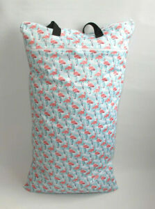 Extra Large XL Wet Bag - Baby Nappy Pail for Reusable Nappies & Pads - Flamingos
