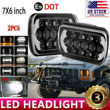 DOT 7x6 5X7 LED Headlight Halo DRL For 86-95 Jeep Wrangler YJ Cherokee XJ Chevy