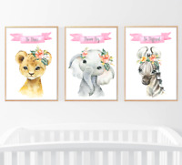 Safari Jungle Animals Set of 3 Floral Pink Baby Nursery Print Set Wall Art Home