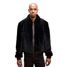 WINTER BLACK SHEARED SHEARLING MOUTON REAL FUR COAT JACKET LEATHER TRIMMING, 4XL