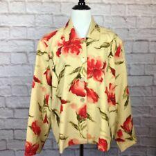 Coldwater Creek Jacket Women XL Petite Silk Linen Boho Floral