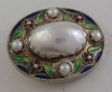 Stunning Sterling Silver Cloisonne Enamel & Pearl Brooch Pin