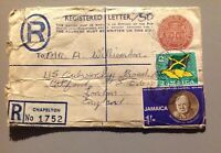 Post office Jamaica 1966 stamps cover Registered letter ''Churchill''