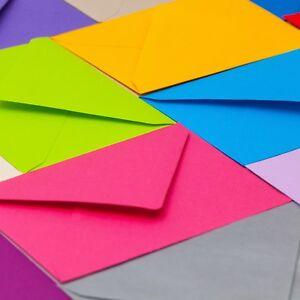 100 x A6 C6 Assorted Mixed Colours Premium Envelopes Cardmaking