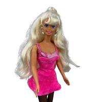 Vintage 90's Barbie Sweetheart Doll Platinum Blonde Hair Pink Dress Mattel