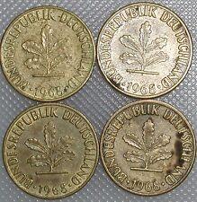 5 Pfennig 1968 D F G J Kompletter Satz